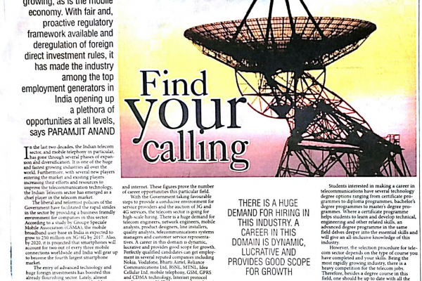 "PRESS RELEASE IN ""THE PIONEER"" ON TELECOM INDUST"